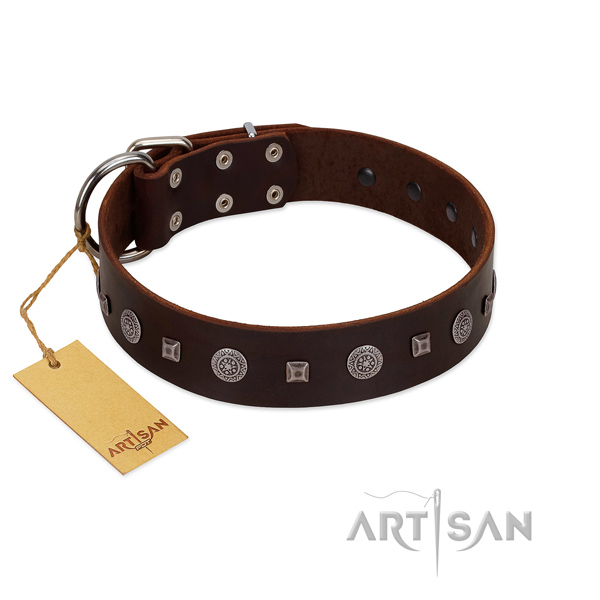 Comfortable wearing high quality genuine leather dog collar with studs