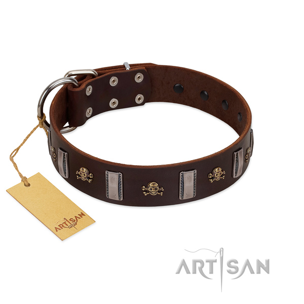 Durable full grain genuine leather dog collar for your handsome doggie