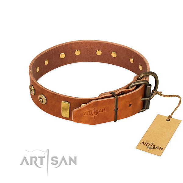 Exceptional decorated full grain natural leather dog collar of quality material