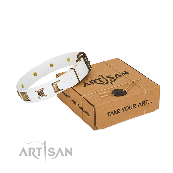 Inimitable leather dog collar with corrosion resistant decorations