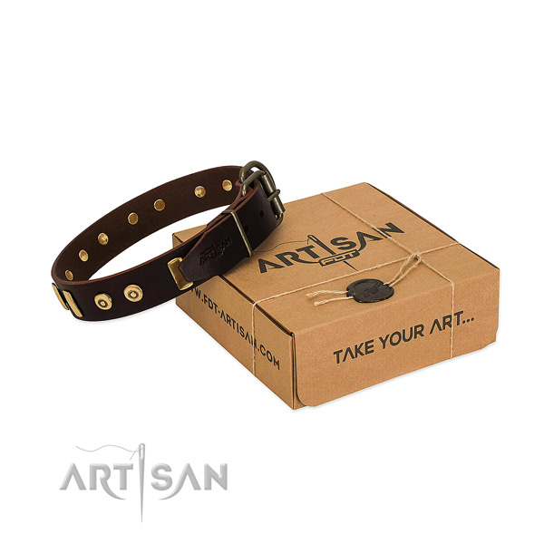 Durable full grain natural leather dog collar with designer decorations