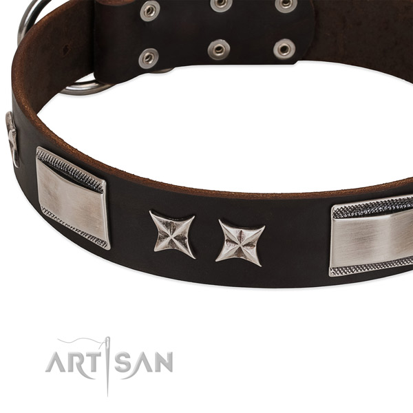 Best quality full grain leather dog collar with reliable D-ring