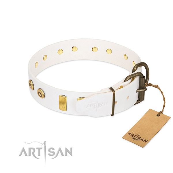 Impressive studded leather dog collar of soft material