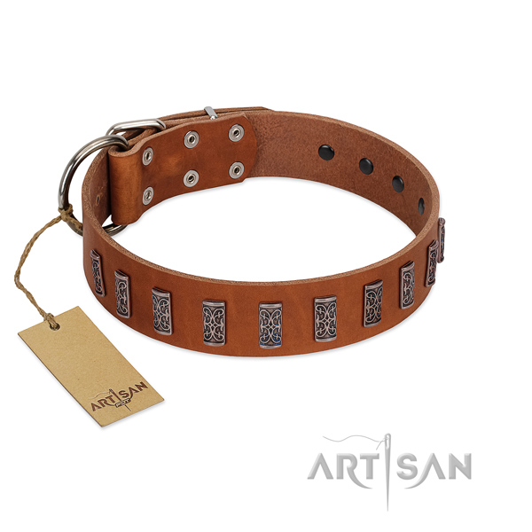Soft natural leather dog collar with rust resistant hardware