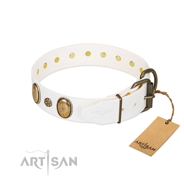 Daily walking gentle to touch natural genuine leather dog collar