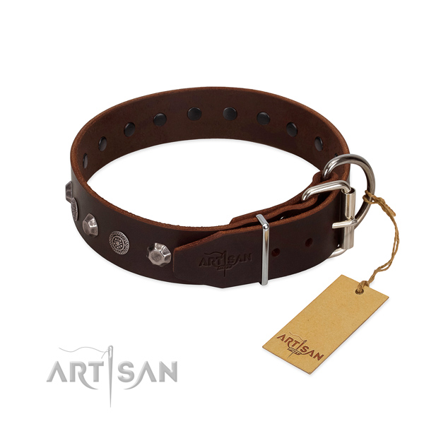 Strong hardware on genuine leather dog collar for everyday use