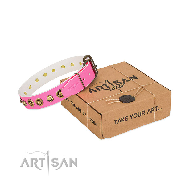 Full grain leather collar with awesome studs for your canine