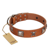 """Amorous Escapade"" Embellished FDT Artisan Tan Leather German Shepherd Collar with Chrome Plated Crossbones and Plates"