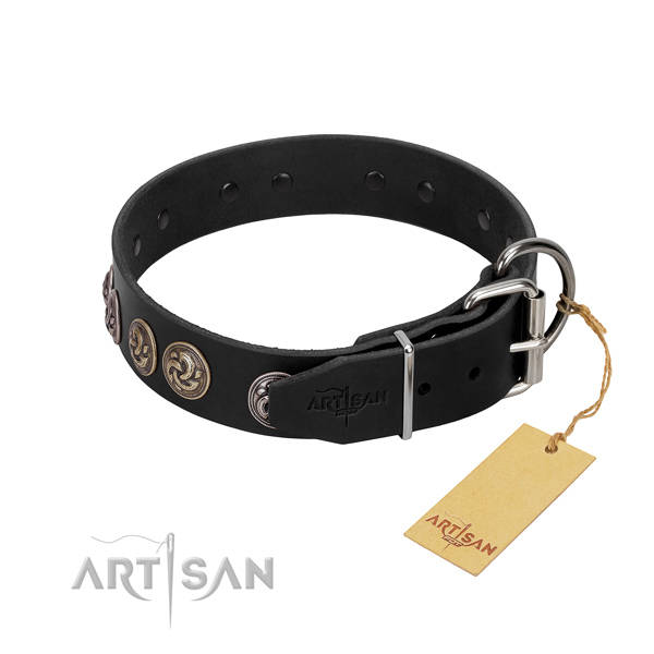 Rust-proof fittings on adorned full grain leather dog collar