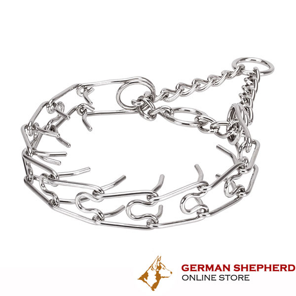 Dependable stainless steel dog prong collar for large dogs
