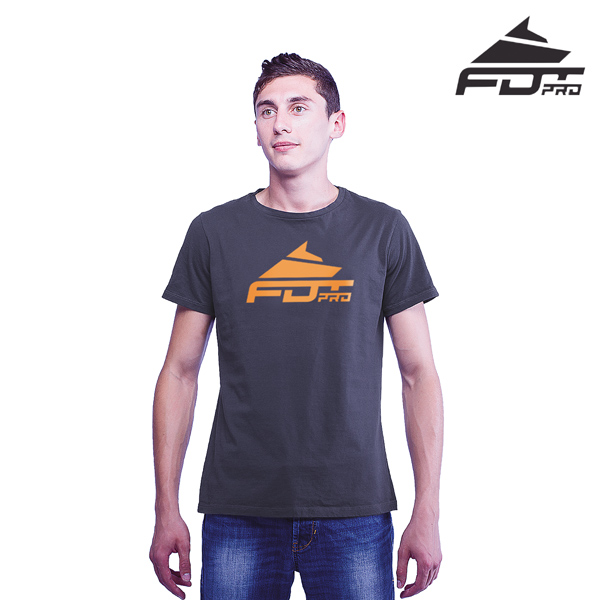 Fine Quality Cotton Pro Men T-shirt of Dark Grey Color