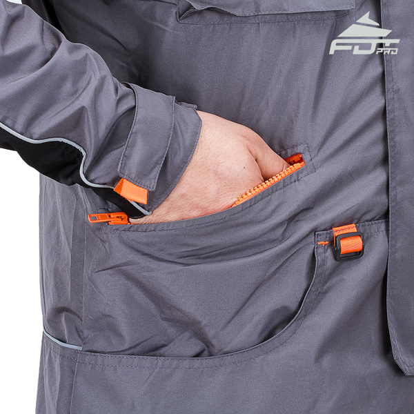 Grey FDT Pro Design Dog Training Jacket with Strong Side Pockets