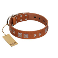 """Egyptian Gifts"" Handmade FDT Artisan Tan Leather German Shepherd Collar with Chrome-plated Pyramids"