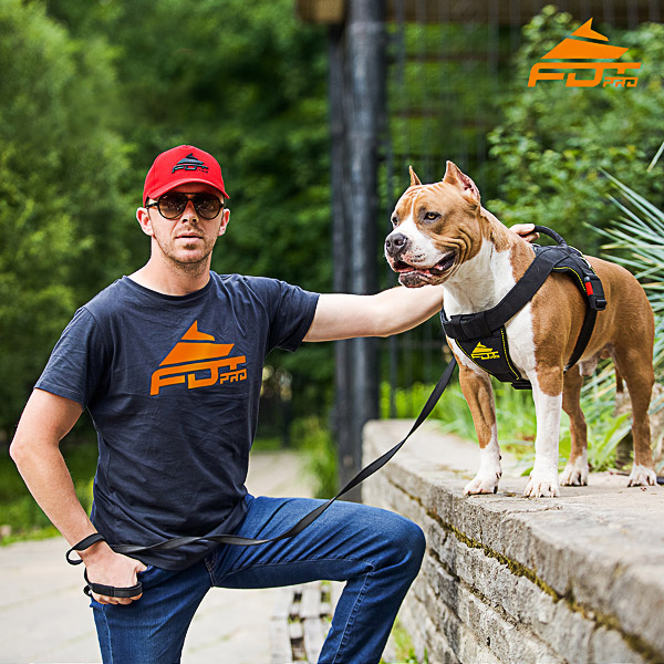 Men T-shirt of High Quality Cotton with Orange Logo for Dog Training