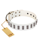 """Heaven's Gates"" Handmade FDT Artisan White Leather German Shepherd Collar with Silver-Like Engraved Plates"