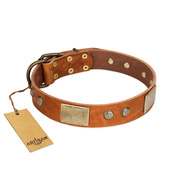 """Ancient Treasures"" FDT Artisan Tan Leather German Shepherd Collar with Antiqued Plates and Studs"