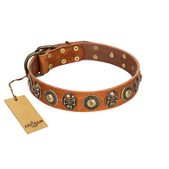 """Golden Epoch"" FDT Artisan Tan Leather German Shepherd Collar with Old Bronze-plated Medallions and Conchos"