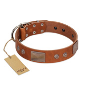 """Great Obelisk"" Handcrafted FDT Artisan Tan Leather German Shepherd Collar with Large Plates and Pyramids"