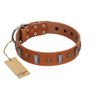 """Golden Crossbones"" Handmade FDT Artisan Tan Leather German Shepherd Collar with Plates and Skulls"