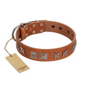 """Antique Figures"" FDT Artisan Tan Leather German Shepherd Collar with Silver-like Engraved Plates"