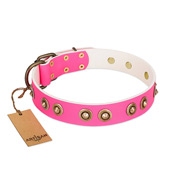 """Bright Delight"" Pink FDT Artisan Leather German Shepherd Collar with Large Old Bronze-like Plated Studs"