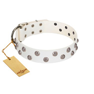 """Wild Flora"" FDT Artisan White Leather German Shepherd Collar with Silver-like Engraved Studs"