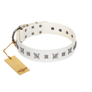 """Fashion Star"" FDT Artisan White Leather German Shepherd Collar with Silver-Like Engraved Plates and Stars"