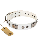 """Good-Luck Piece"" FDT Artisan White German Shepherd Collar Adorned with Chrome Plated Studs and Plates"