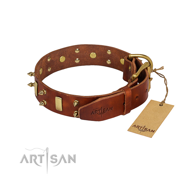 Indestructible leather dog collar with non-corrosive hardware