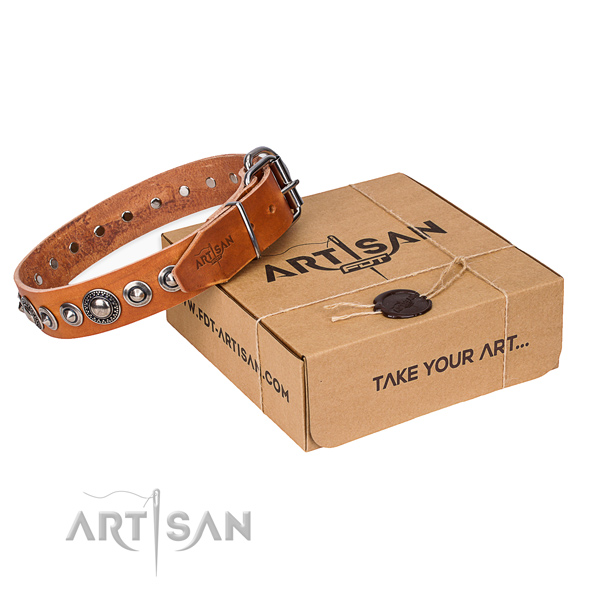 Fashionable natural genuine leather dog collar for stylish walking