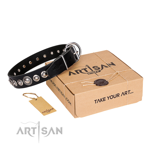 Perfect fit full grain leather dog collar for walking