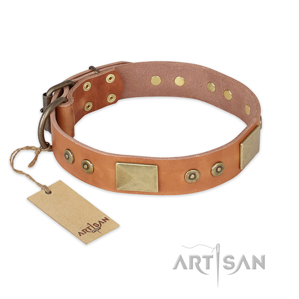 Exquisite design decorations on genuine leather dog collar