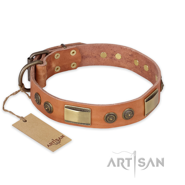 Unique design decorations on full grain natural leather dog collar