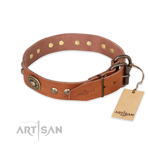 Awesome design studs on full grain natural leather dog collar