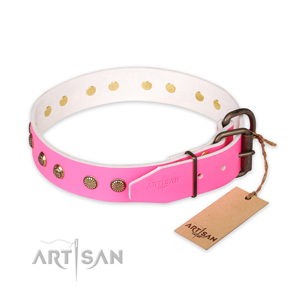 Stylish walking natural genuine leather collar with adornments for your canine