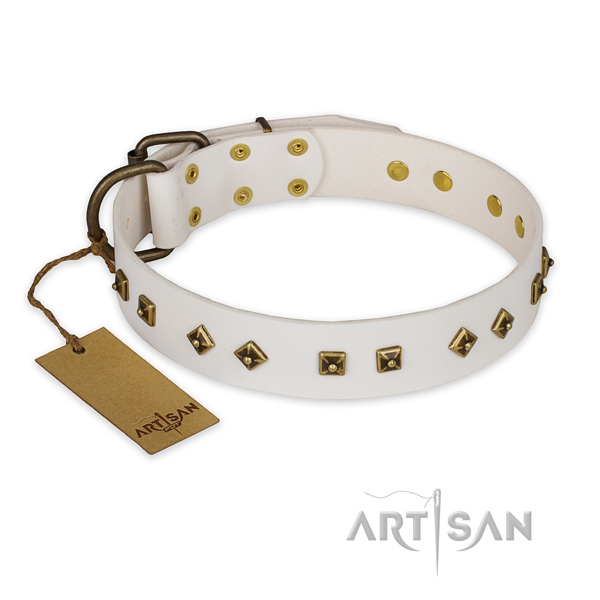 Top notch design decorations on natural genuine leather dog collar