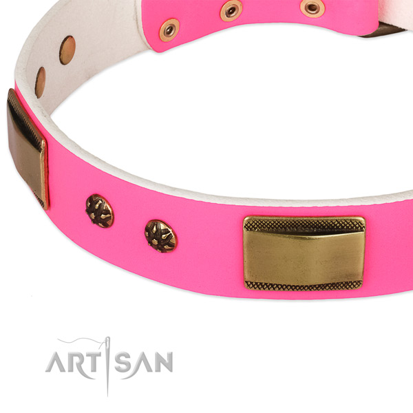 Handy use full grain genuine leather collar with corrosion resistant buckle and D-ring