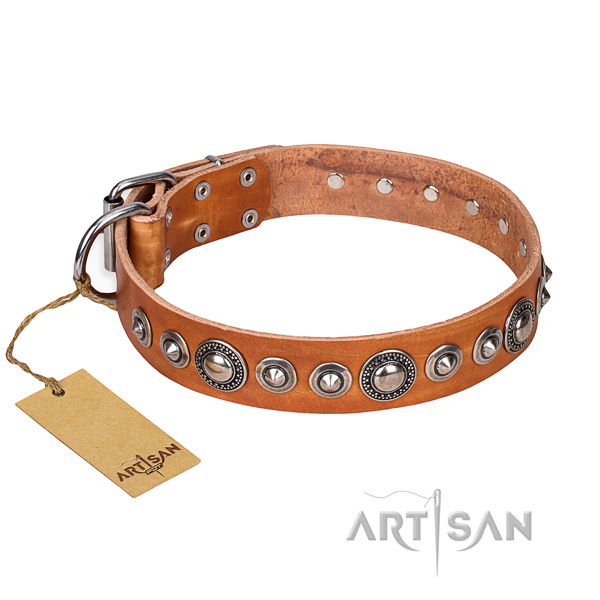 Sturdy leather dog collar with non-corrosive hardware