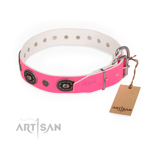 Trendy design embellishments on genuine leather dog collar