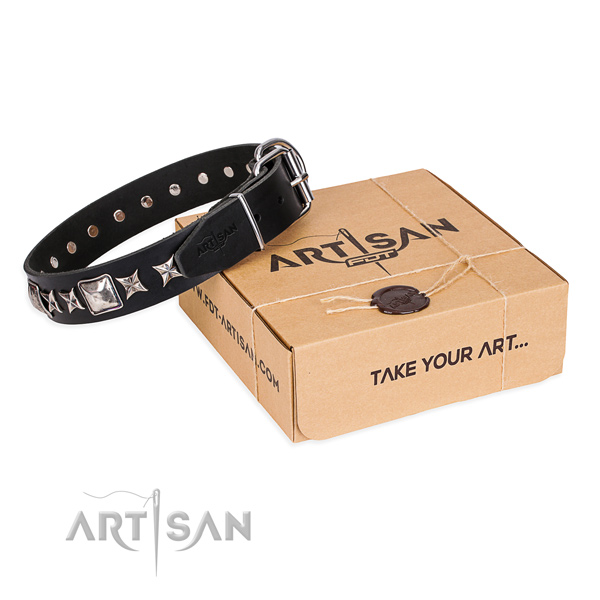 Fine quality full grain leather dog collar for daily use