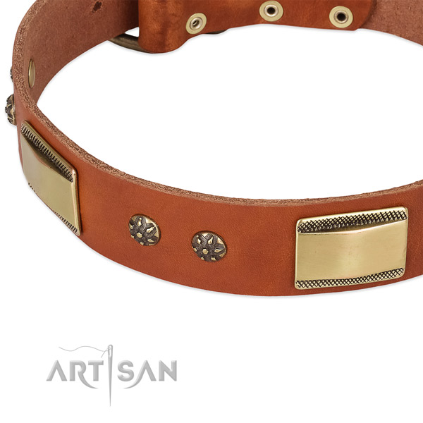 Everyday walking natural genuine leather collar with durable buckle and D-ring