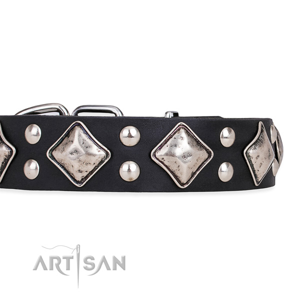 Easy to adjust leather dog collar with resistant to tear and wear durable buckle and D-ring