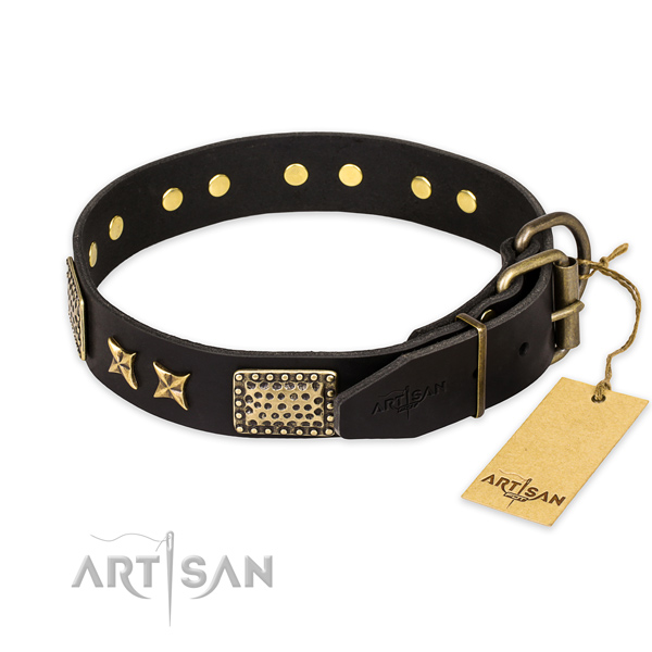 Inimitable design decorations on natural genuine leather dog collar