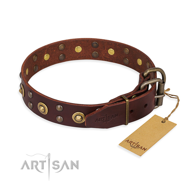 Daily walking natural genuine leather collar with studs for your dog