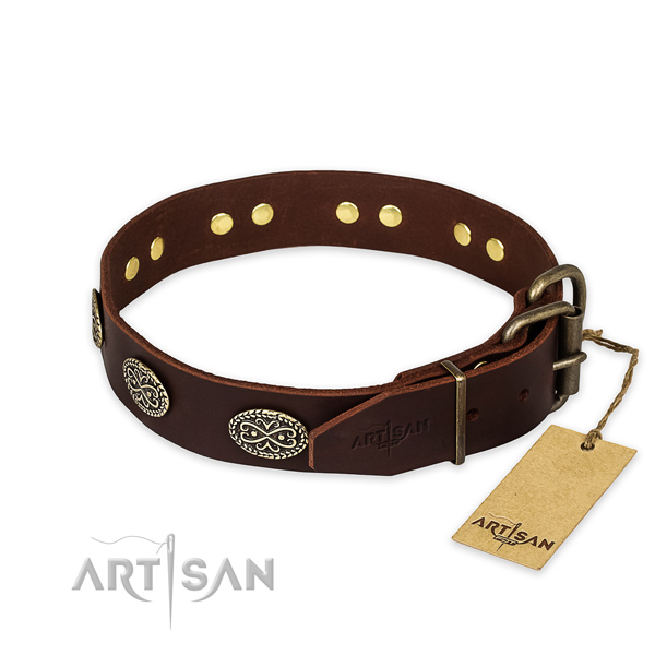 Daily walking genuine leather collar with adornments for your canine