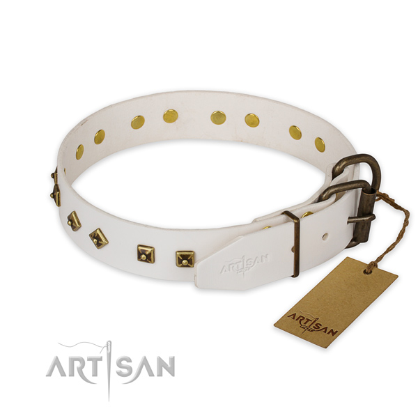 Everyday walking genuine leather collar with decorations for your dog
