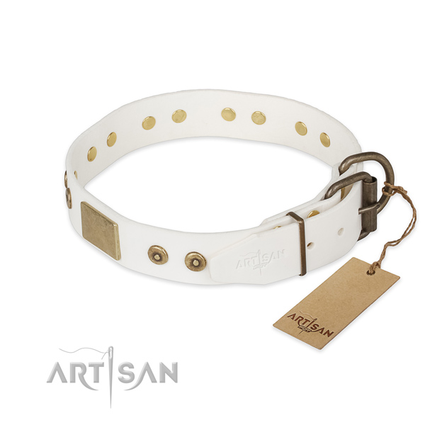 Handy use full grain natural leather collar with adornments for your dog