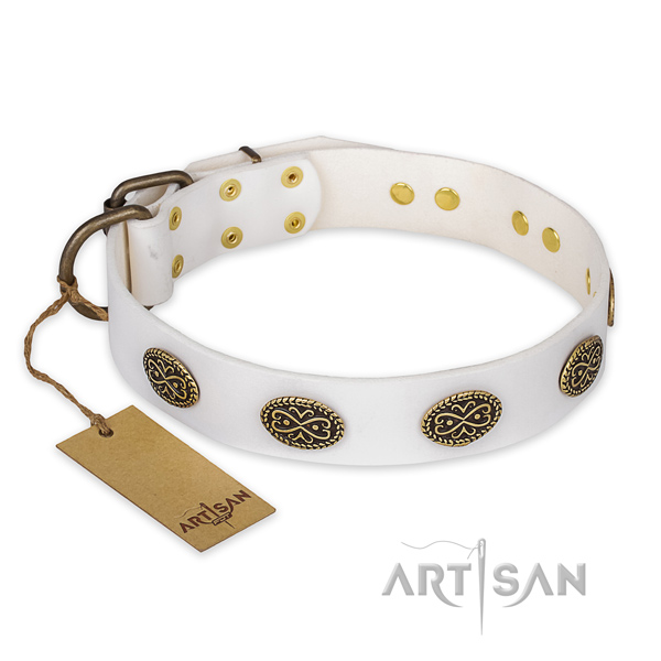 Exceptional design embellishments on genuine leather dog collar