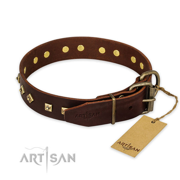 Daily walking natural genuine leather collar with decorations for your doggie