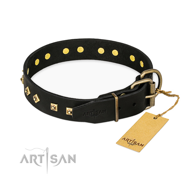 Daily walking natural genuine leather collar with adornments for your four-legged friend
